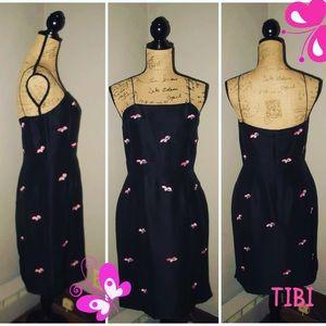 TIBI NEW YORK Size 10 Black Silk Midi Sun Dress